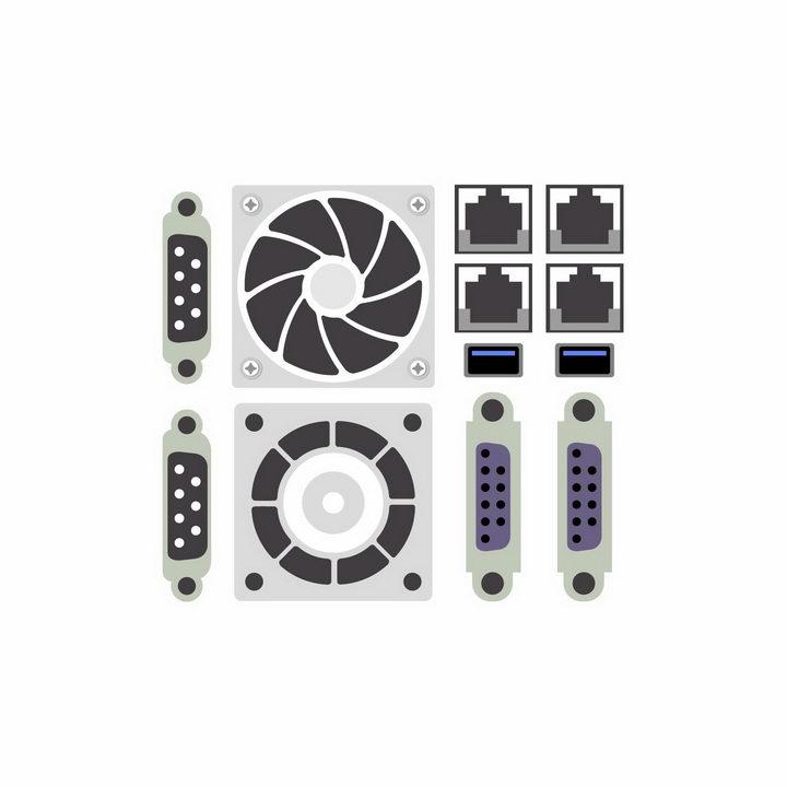 VGA电脑显示器接口以太网卡接口USB接口风扇出风口等电脑接口png图片免抠矢量素材 IT科技-第1张