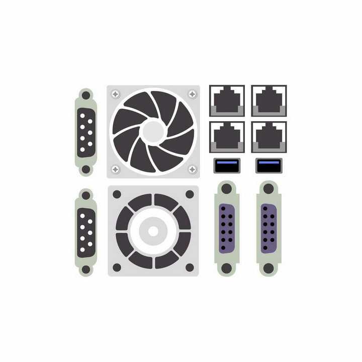 VGA电脑显示器接口以太网卡接口USB接口风扇出风口等电脑接口png图片免抠矢量素材