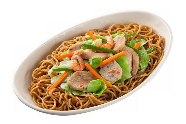 一碗美味的的虾仁香肠拌面美食面条png图片免抠素材