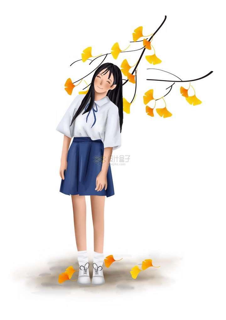 彩绘风格黄色银杏树叶下的校服青春女孩png图片免抠素材