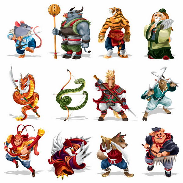 卡通古代武将风格十二生肖排序png图片免抠矢量素材 休闲娱乐-第1张