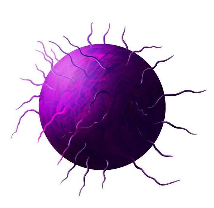 紫色的新型冠状病毒细菌png图片免抠素材