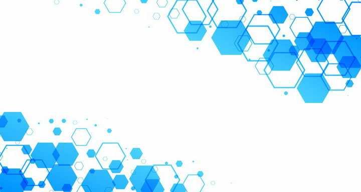 蓝色六边形装饰花纹png图片免抠eps矢量素材