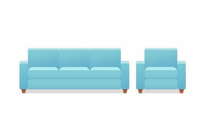 海蓝色的组合沙发和单人沙发客厅家具png图片免抠矢量素材 建筑装修-第1张