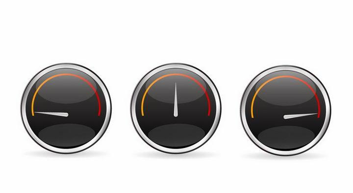 3款不同读数的汽车仪表盘速度表png图片免抠矢量素材 交通运输-第1张