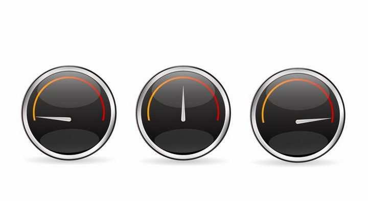 3款不同读数的汽车仪表盘速度表png图片免抠矢量素材
