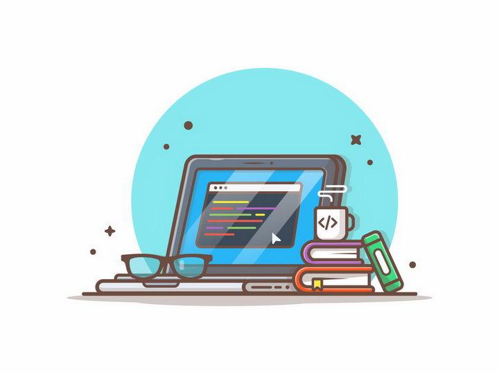 MBE风格卡通笔记本电脑和书本png图片免抠矢量素材 IT科技-第1张