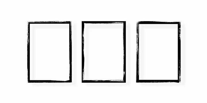 三款毛笔涂鸦风格边框方框png图片免抠矢量素材