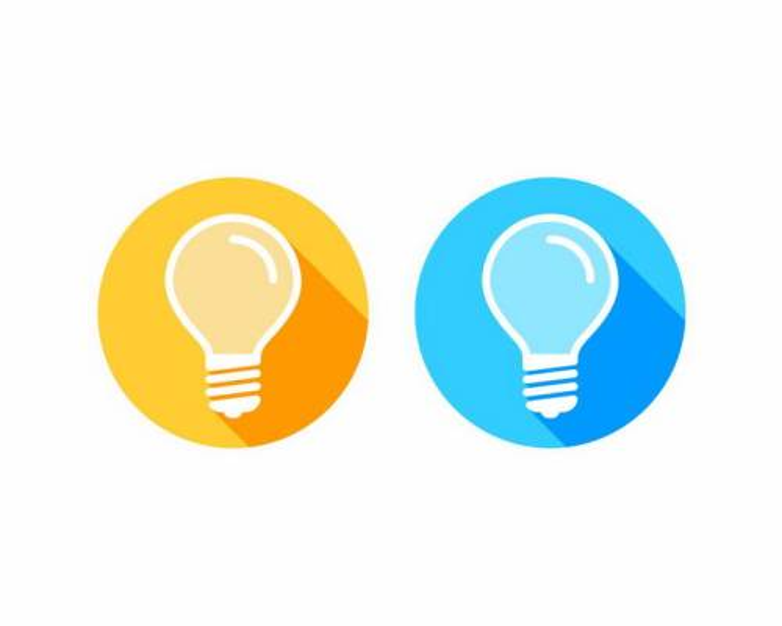 扁平化风格橙色和蓝色长阴影电灯泡象征了点子png图片免抠矢量素材