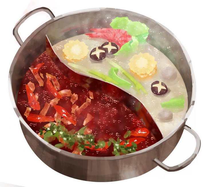 分为清汤和麻辣风味的重庆四川鸳鸯火锅锅底png图片免抠素材