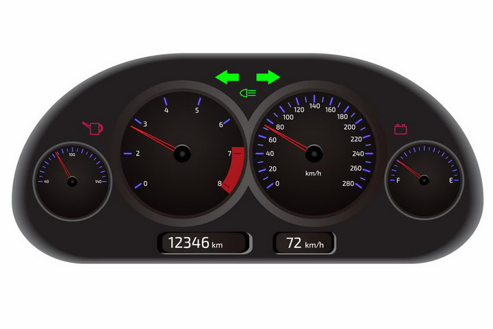 黑色汽车仪表盘燃油油表指示灯和指针png图片免抠矢量素材 交通运输-第1张