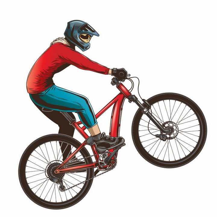 正在骑山地运动自行车的年轻人png图片免抠矢量素材