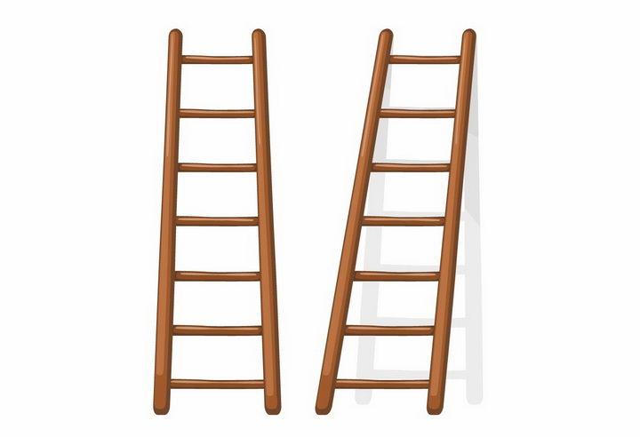 两把木头梯子png图片免抠矢量素材 生活素材-第1张