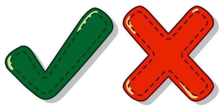 卡通虚线风格绿色对号和红色错误图案png图片免抠矢量素材