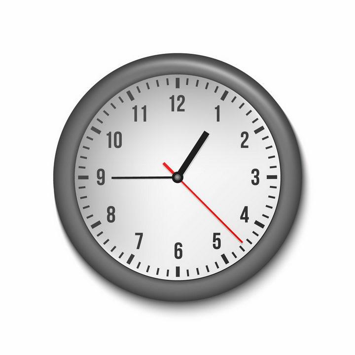 立体黑色边框的时钟表盘时针分针秒针png图片免抠矢量素材 生活素材-第1张