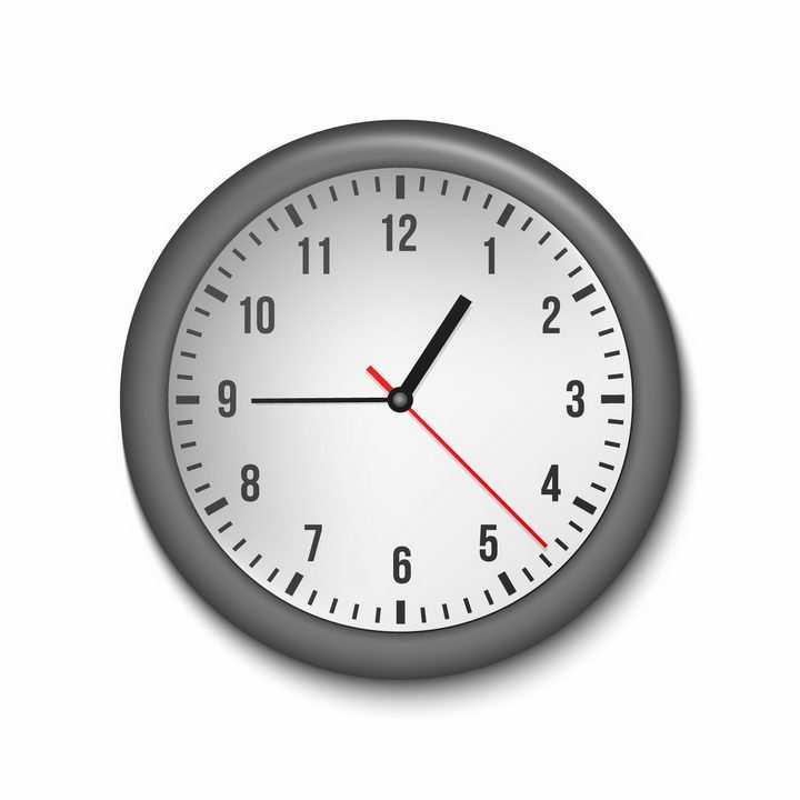 立体黑色边框的时钟表盘时针分针秒针png图片免抠矢量素材