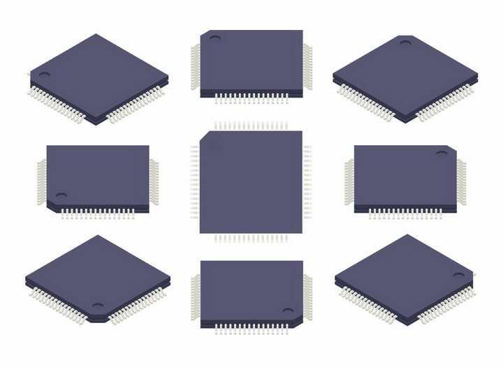 一款集成电路芯片电子元件的9个不同角度png图片免抠矢量素材