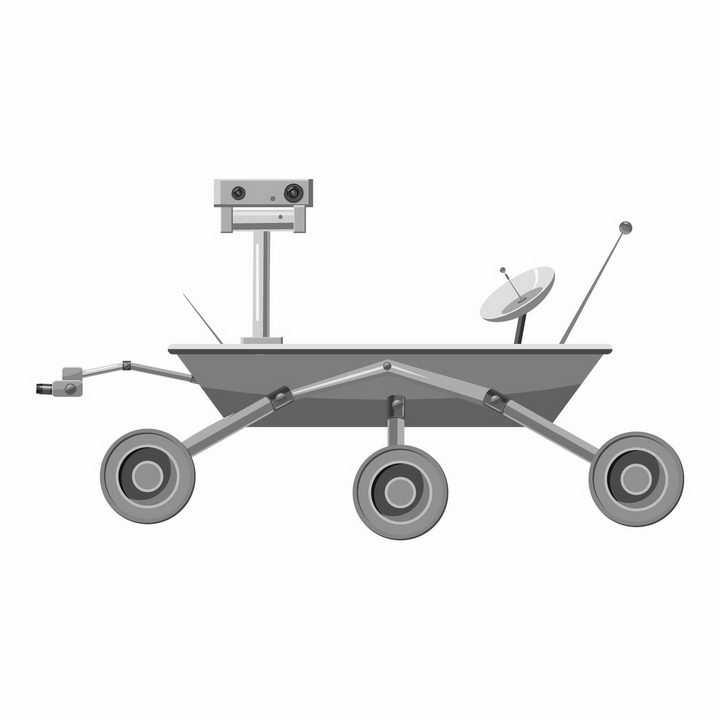 灰色的火星探测车侧视图png图片免抠矢量素材
