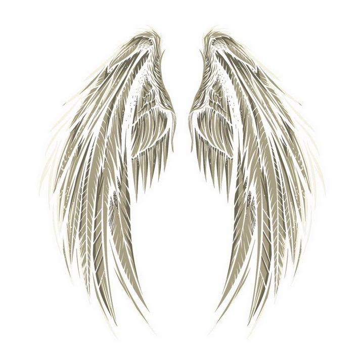 一对灰色天使的翅膀鸟翅膀png图片免抠矢量素材 装饰素材-第1张