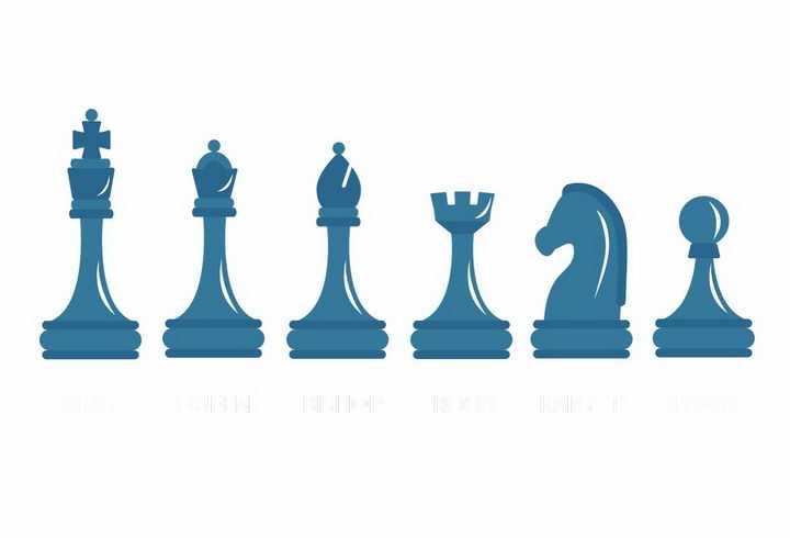 蓝色的扁平化风格国际象棋棋子png图片免抠矢量素材