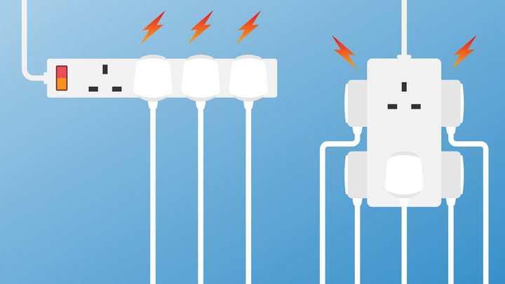 两种插座插线板插排拖线板安全用电小心漏电png图片免抠eps矢量素材