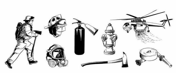 手绘涂鸦风格消防员防毒面具灭火器灭火直升机等消防设施png图片免抠矢量素材