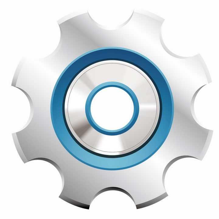 蓝色环形装饰金属光泽卡通齿轮png图片免抠矢量素材