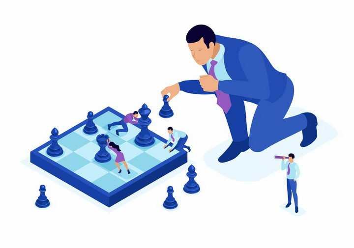 2.5D风格商务人士正在下国际象棋象征了大企业要做好决策png图片免抠矢量素材