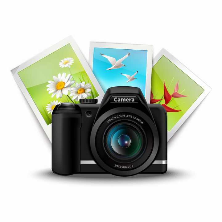 佳能单反照相机和拍摄的照片旅游配图png图片免抠矢量素材
