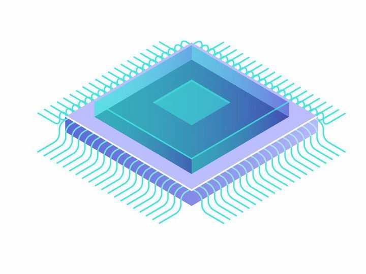 蓝色针脚的集成电路芯片电子元件CPU处理器芯片png图片免抠矢量素材