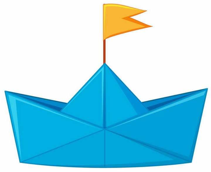 插着黄色旗帜的蓝色折纸船png图片免抠矢量素材