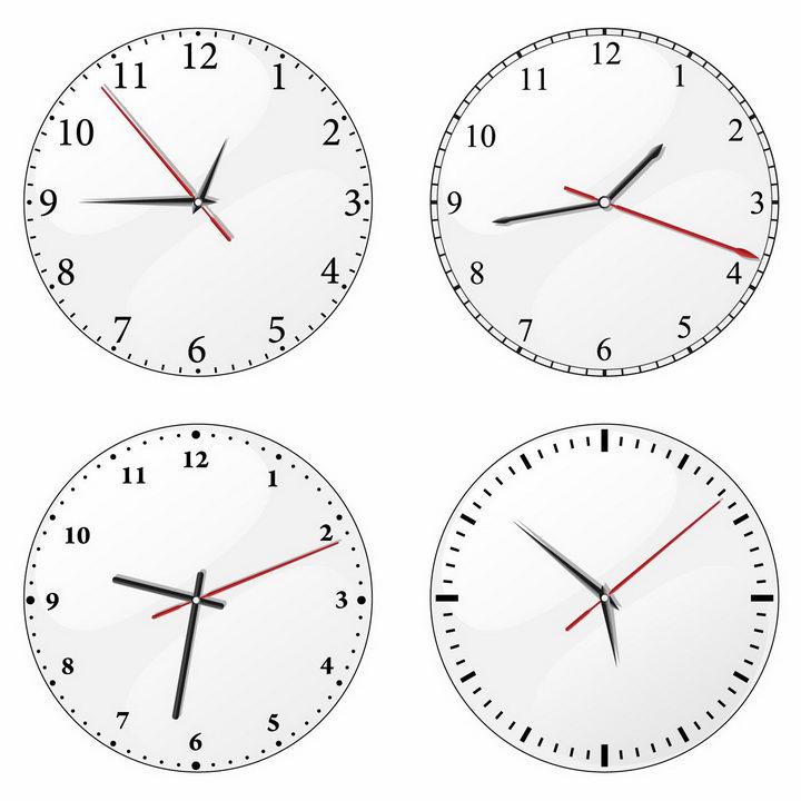4款带时针分针秒针的圆形白色时钟表盘png图片免抠矢量素材 生活素材-第1张