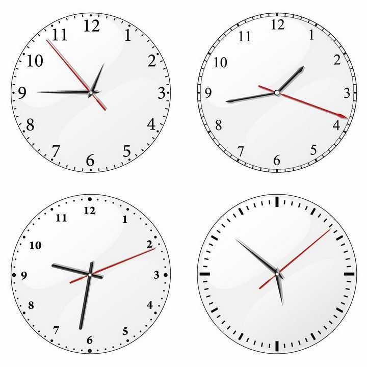 4款带时针分针秒针的圆形白色时钟表盘png图片免抠矢量素材