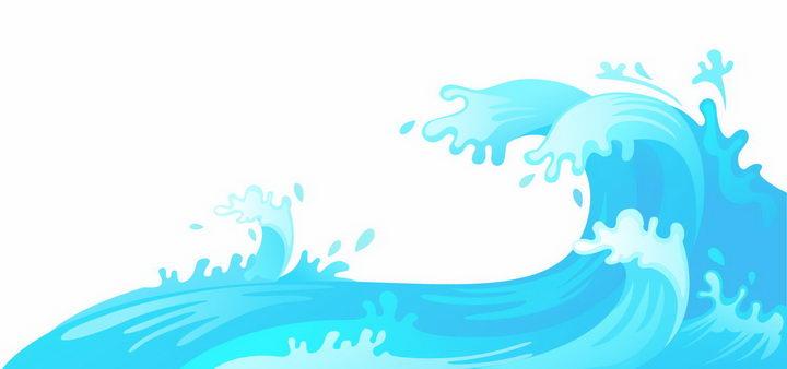 卡通漫画风格蓝色海浪波浪png图片免抠eps矢量素材 效果元素-第1张