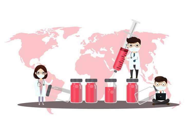 卡通医生正在用针筒抽取药瓶中的药水医疗医学png图片免抠矢量素材