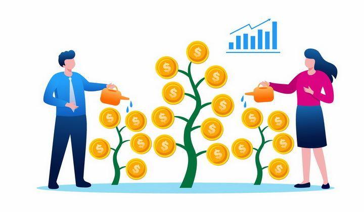 扁平插画风格正在给金币树浇水的商务人士象征了投资和收益png图片免抠矢量素材 金融理财-第1张