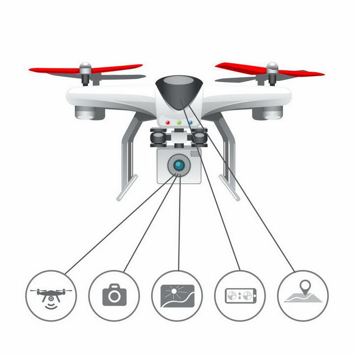 四轴飞行器无人机航拍小飞机的组件介绍png图片免抠矢量素材 IT科技-第1张