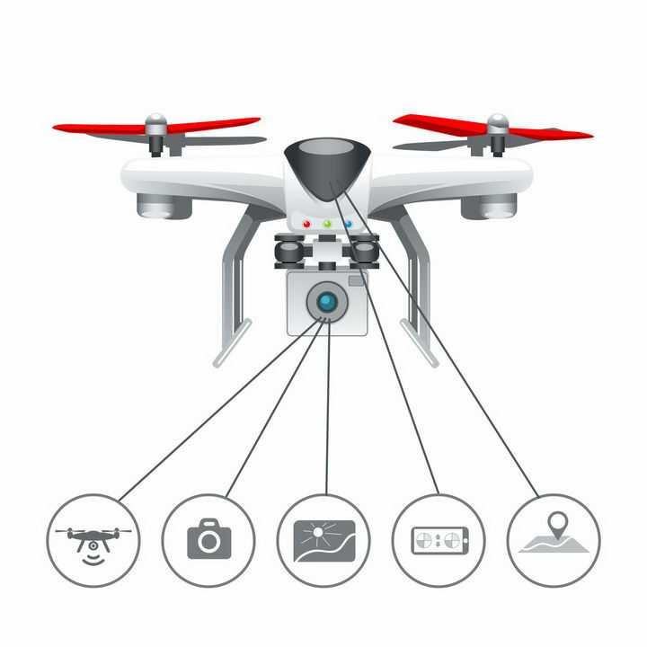 四轴飞行器无人机航拍小飞机的组件介绍png图片免抠矢量素材