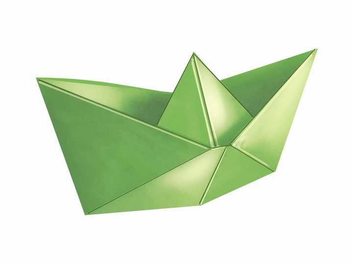 绿色的折纸船png图片免抠矢量素材