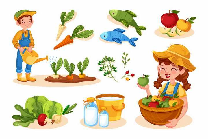 各种卡通农民和胡萝卜苹果牛奶等有机蔬菜美食png图片免抠素材