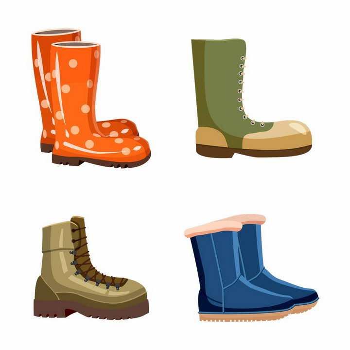 4款卡通风格雨靴登山鞋雪地靴等鞋子png图片免抠eps矢量素材