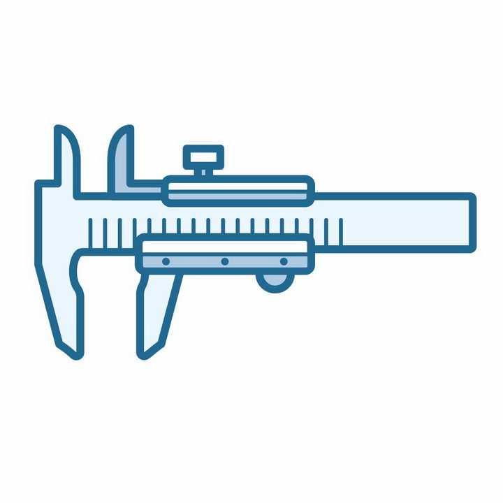 扁平化风格蓝色游标卡尺测量工具png图片免抠矢量素材