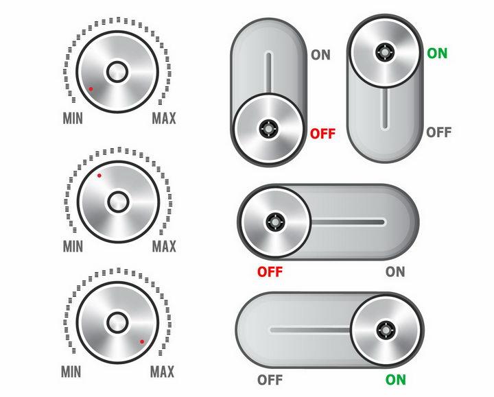 各种金属光泽的滑动开关按钮png图片免抠矢量素材 按钮元素-第1张