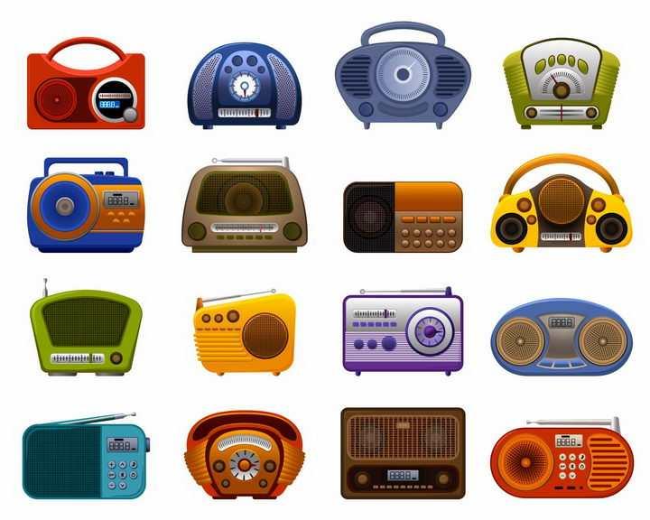 16款各种颜色的卡通收音机录音机png图片免抠矢量素材