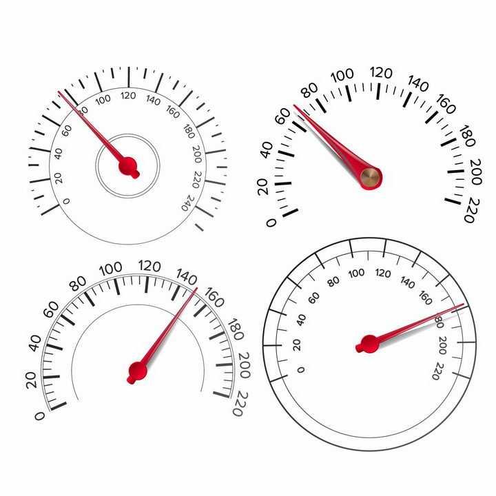 4款汽车仪表盘速度表图案png图片免抠矢量素材