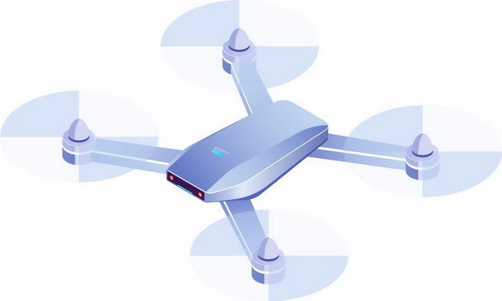 3D风格逼真的浅蓝色四轴飞行器无人机png图片免抠矢量素材 IT科技-第1张
