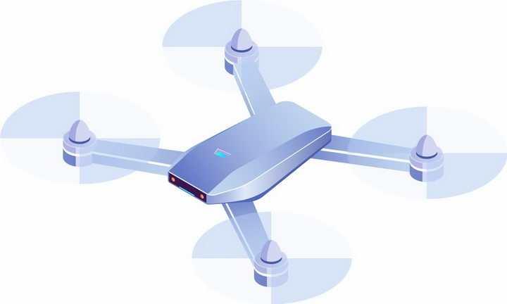 3D风格逼真的浅蓝色四轴飞行器无人机png图片免抠矢量素材
