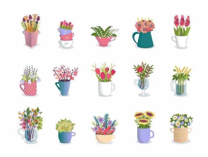 15款盆栽花朵和插满鲜花的花瓶png图片免抠矢量素材