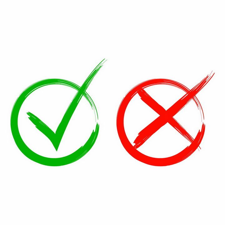 手绘涂鸦风格绿色对号红色叉号错号png图片免抠矢量素材 按钮元素-第1张