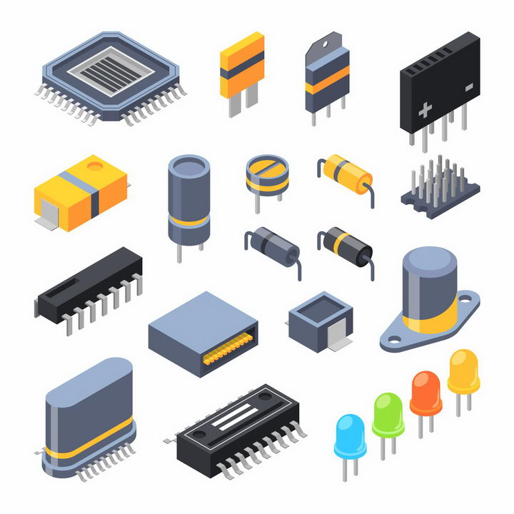 2.5D立体风格集成电路芯片电容器电阻器电感二极管晶体管等png图片免抠矢量素材 IT科技-第1张